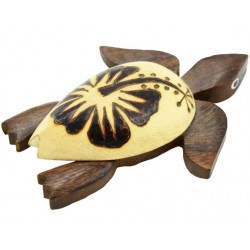 Large Wooden Turtle Burn Hibiscus Magnet