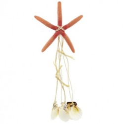 Orange Star Fish Wind Chime With Sea Shells