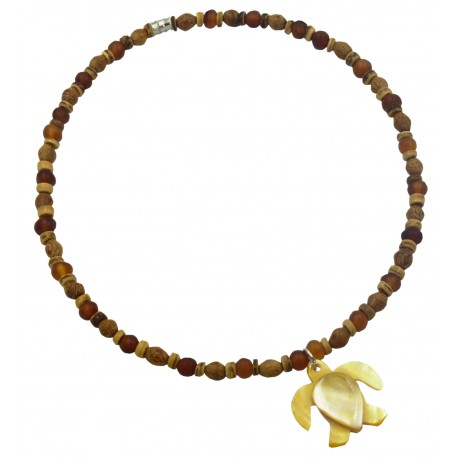 Robles Wood Necklace With MOP Shell Turtle Pendant
