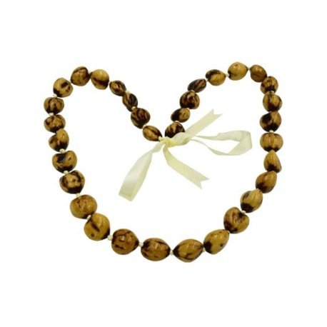 Tiger Natural Kukui Nut Necklace