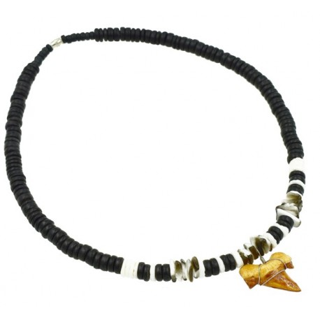 Black Coconut With Antique Sharks Tooth Necklace
