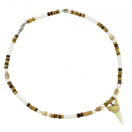 Tiger Coconut With Tiger Nassa Shell Sharks Tooth Necklace