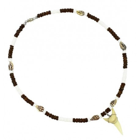 Brown Coconut With Tiger Nassa Shell Sharks Tooth Necklace