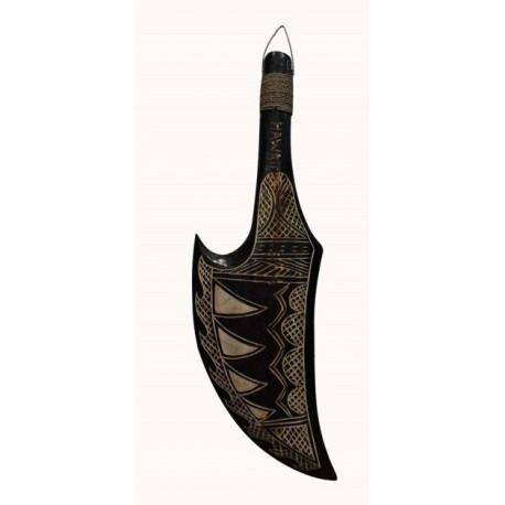 Hand Carved Black Wooden Tribal Knife
