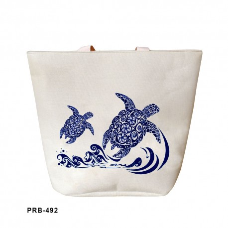 XL Navy Blue Tribal Turtles Waves Tote Bag