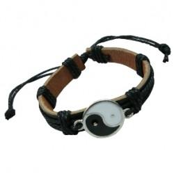 Yin Yang Pendant Leather Bracelet