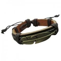 Feather Pendant Leather Bracelet