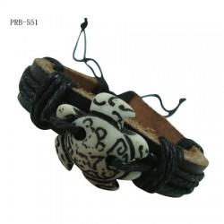 Turtle Pendant Leather Bracelet