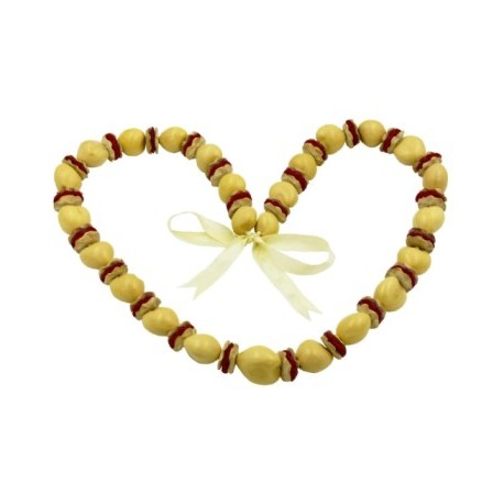 Hibiscus Carved Coconut Tokens & Beige Kukui Nut Lei/Necklace