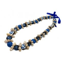 Cowrie Shell  Blue Hibiscus Turtle Kukui Nut Lei/Necklace