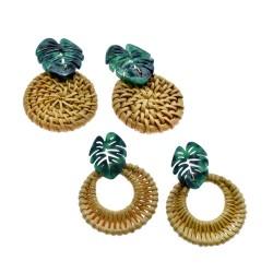 Green Palm Leaf Rattan Earring