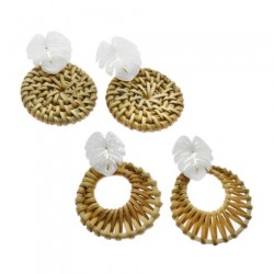 White Palm Leaves Rattan Earring
