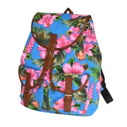 Hibiscus Palm Leaves Back Pack With Leather