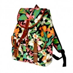 Plumeria Flowers Back Pack With Leather