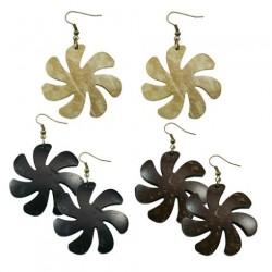 Carved Coconut Earrings-Flower/Tiare