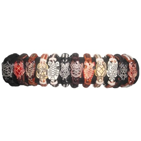 Turtle Bone Pendant With Leather Bracelet