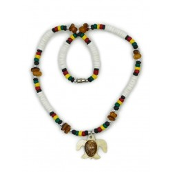 White Clam Shell With Rasta Coco MOP Turtle Pendant Necklace