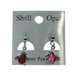 Paua Shell Earrings-Pink Penguin