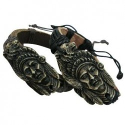 Indian Face Pendant Leather Bracelet