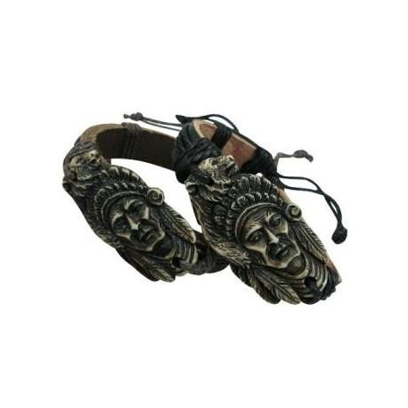 Indian Face Pendant Leather Bracelet