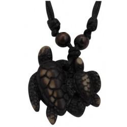 Double Turtle Pendant Necklace