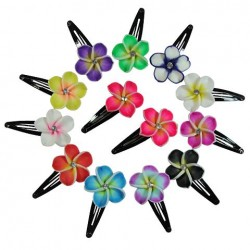 Fimo Flower Hair Clips with Crystal
