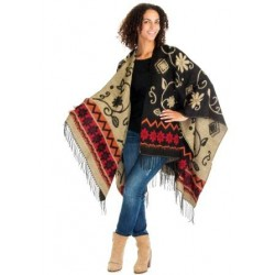 Flower Motive Winter Poncho (Black/Camel)