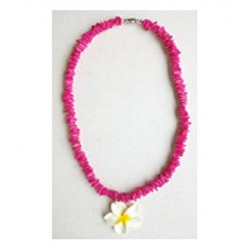 Rose Clam Shell Necklace - Hot Pink - White Fimo Flower
